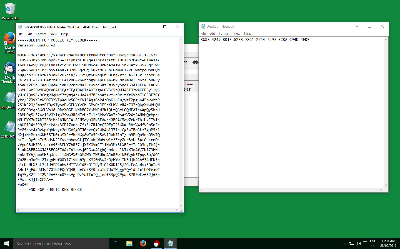 Public Key in Notepad