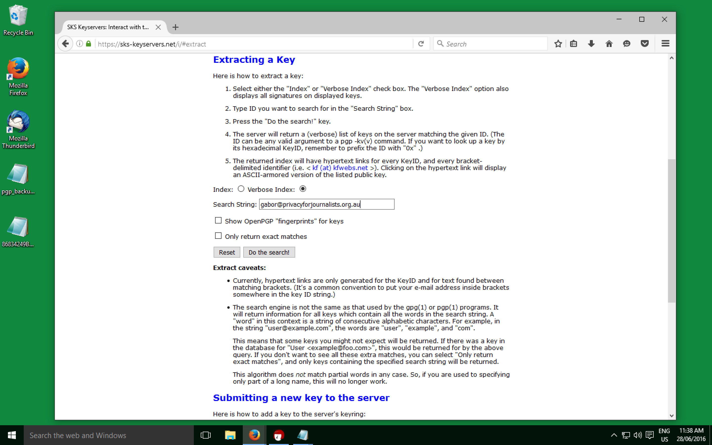 SKS Search for PGP Public Key by Email
