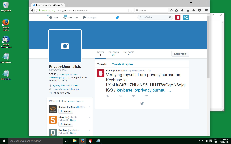 Twitter URL and Fingerprint in Bio
