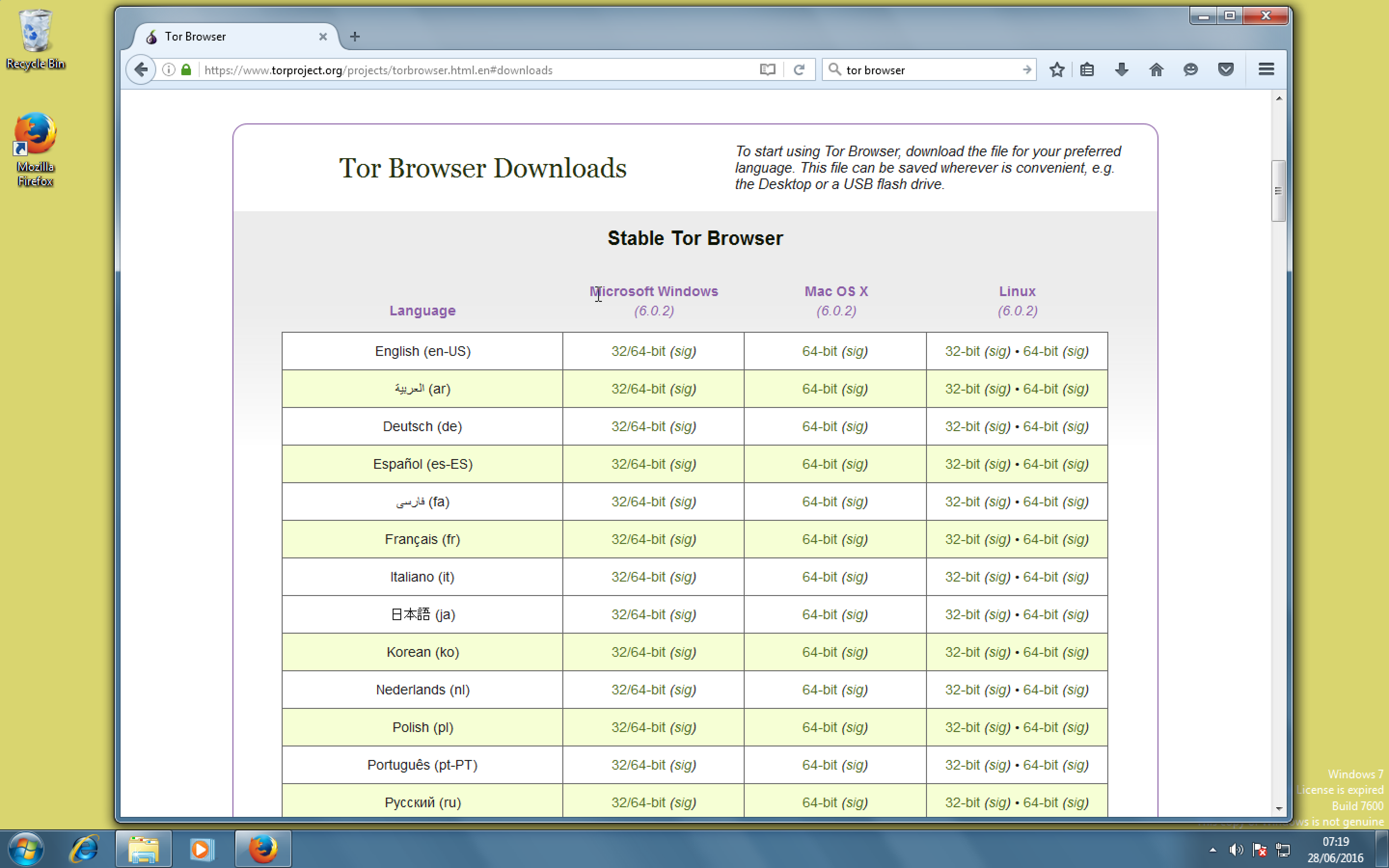 Downloading Tor Browser